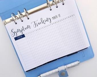 A5 Symptom Tracker Printed Planner Inserts | Monthly Symptom Tracking | Pain tracker, mood tracker, medication, pregnancy Kikki K filofax