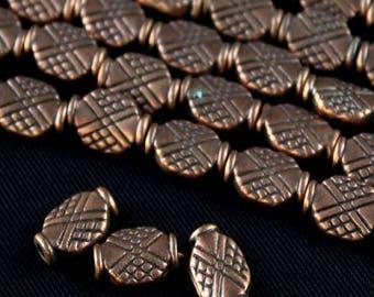 "Antique Copper 10x8mm Flat Oval Crisscross Design Pewter Beads (8"" strand)"