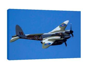 deHavilland Mosquito flying Canvas Wall Art WWII Warbird War bird British Airplanes