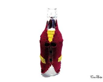 Bordeaux crochet gilet for wine bottle, gilet bordeaux per rivestire bottiglie di vino all'uncinetto
