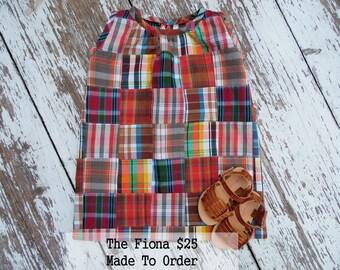 Girls dress Made to order toddler shift dress Patchwork sleeveless dress