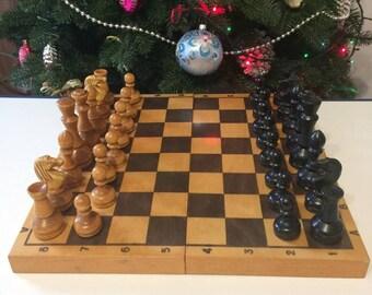 "Vintage chess set, Chess USSR 1980s, Vintage Wooden chess set, retro gift decor, Full set 13.7""x13.7"""