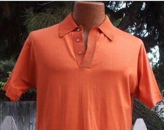 Sale Vintage 50s 60s Don Loper Rockabilly Orange 100 % Cotton Mens Short Sleeve Pullover Shirt Top M