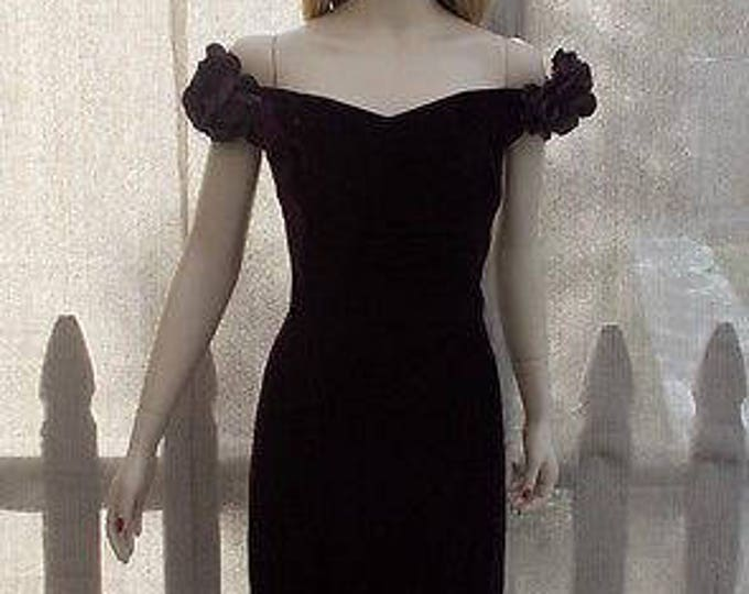 Vintage 90s Special Occasion Womens Jim Hjelm Occasions Wine Velvet Off Shoulder Cocktail Evening Party Prom Dress Size 12