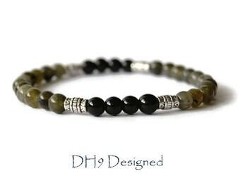 Labradorite and Black Onyx Bracelet - Mens Gemstone Bracelet - Mens Stretch Bracelet - Black Onyx Bead bracelet - Labradorite Bracelet