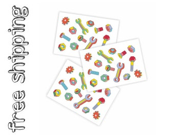 Set of 3 temporary tattoo sheets «Screws». 42 tiny kids body stickers with screw, bolt, screw-nut, spanner, wrench. TT201