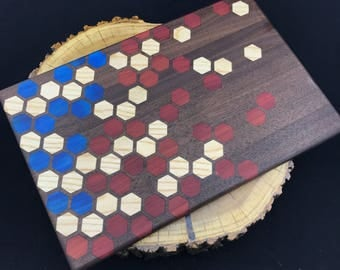 Large American Flag Honeycomb inlay Cutting board- Walnut with Ash, Bloodwood, and Stabilized Blue Poplar
