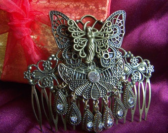 Fairy Steampunk Wedding Hair Comb Filigree Prom Hair Comb Steampunk Fairy Butterfly Hair Accessories  CLEARANCE SALE