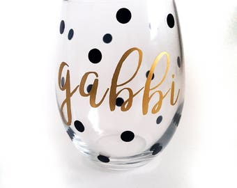 Set of 8 | Custom Wine Glass, Stemless Wine Glass, 15 oz, Bridesmaids Gift, Bridesmaid Gift, Personalized Gift, Monogrammed Gift, Gift