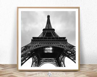 Eiffel Tower Print, Paris Wall Art, Bedroom Decor, Black and White Photography, Square Printable Digital Download, Modern Minimalist