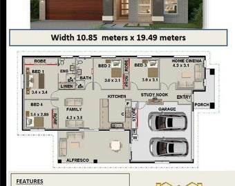 182.2 m2 Violet   | Narrow Land Home Design - 4 Bedroom Concept house plans | For Sale