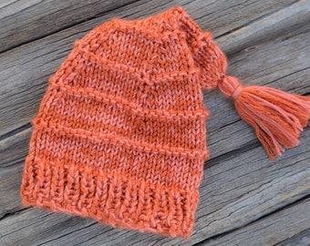Knit Stocking Cap, Stocking Cap with Tassel, Baby Stocking Cap, Photo Prop