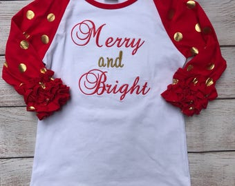 Christmas in July; Merry and Bright Christmas Ruffle Raglan; Girls Christmas Shirt; Girls Ruffle Raglan; Girls Christmas Top