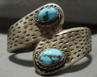 Heavy And Thick Vintage Navajo Bisbee Turquoise Silver Bracelet Old