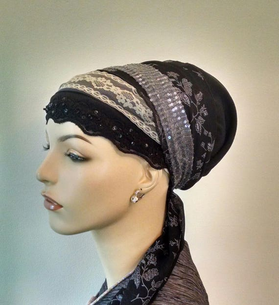 Exquisite evening sinar tichel, tichels, chemo scarves, hair snoods, head scarves