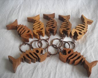 Wooden Fish Bone Keychain