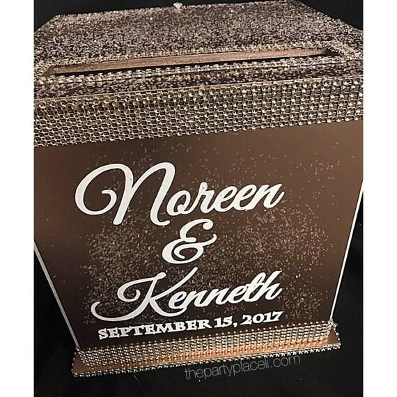 Rose Gold Wedding Card Box with blush rhinestone trim
