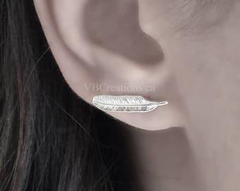 Feather Earrings - Leaf Earrings - Leaves Earrings - Feather Jewelry - Leaf Jewelry - Silver Jewelry - Dainty - Gift Ideas - Sister Gift