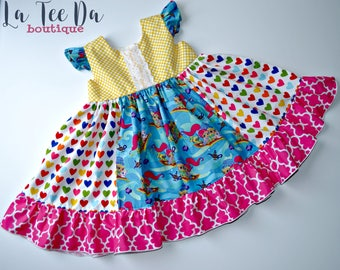 Sweet Flutter Ruffle Shimmer Shine Dress 6/12, 18/24 months, 2, 3, 4, 5, 6, twirly dress, party dress, back to school dress, super hero