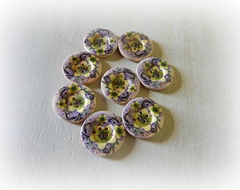 8 wooden buttons with 4 holes 25 mm purple and yellow flower pattern