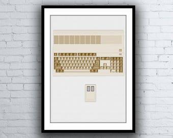 Commodore Amiga 500 Computer and Mouse Digital Art Computer Poster / Print
