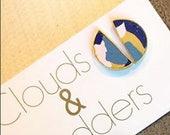 Blue Collage Half Moon Earrings