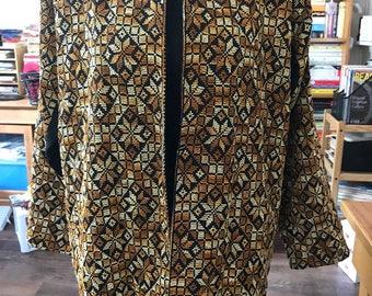 Vintage 80's Handmade Reversible Cross Stitched Jacket