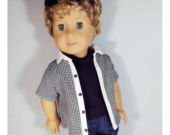 18 inch boy doll clothes - Gingham black and white contrast open front shirt