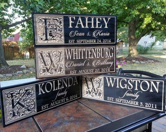Wedding established sign, personalized gift for couple, Family established sign, carved name sign, wood name sign, anniversary gift