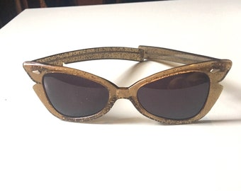 Gold Sparkle Root Beer Lucite Sunglasses 1950's