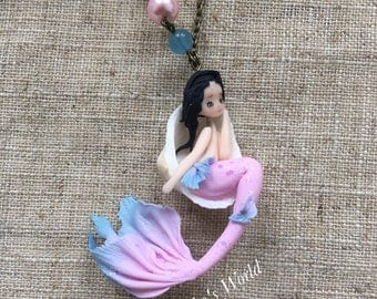 Tiny pink and blue mermaid in her sea shell- Stainless necklace - Sea necklace - Polymer clay doll -Fantasy jewel