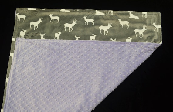 Personalized Baby Blanket-Baby Girl Blanket-Minky Baby Blanket-Lavender/Purple, Grey and White Minky Baby Blanket-Going Home Blanket-Soft