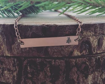 Tree Bar Necklace, Tiny Tree Bar Necklace, Always Explore, Adventure, Evergreen, hand-stamped,