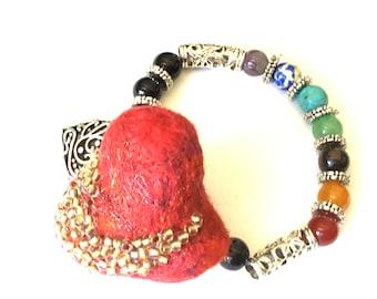 Valentine Heart Bracelet, Gemstone Chakra Stretch Bracelet, Ruby Red Heart Bracelet, Felted and Beaded Detachable Brooch,  Valentine Gift