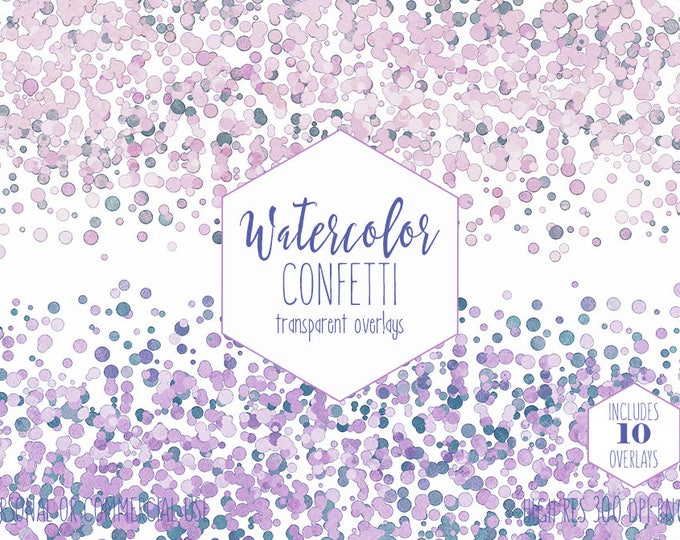 PARTY CONFETTI BORDER Clipart Commercial Use Clip Art 10 Watercolor Transparent Overlays Purple Pink Teal Mint Wedding Invitation Graphics