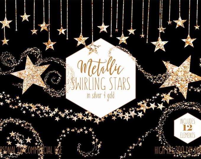 SILVER & GOLD STARS Clipart Commercial Use Planner Clip Art Metallic Glitter Star Shapes Borders Buntings Celestial Wedding Digital Graphics