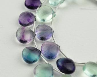 AAA MicroFaceted Multicolored Fluorite Gemstone Heart Briolette Beads