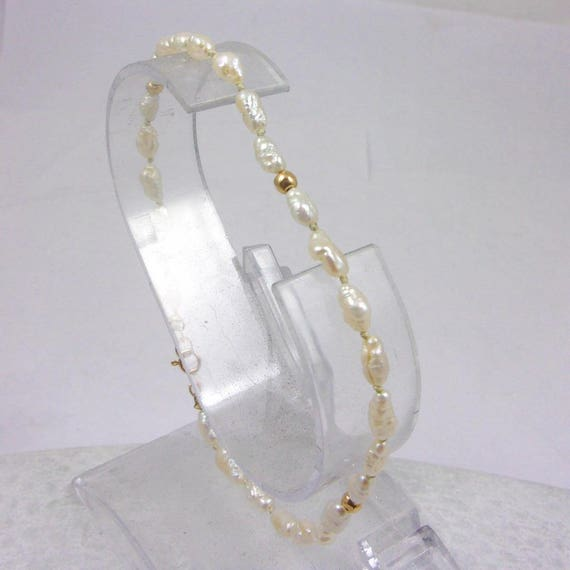 "Solid 14K Yellow Gold and Pearl Bracelet, 8"", 3.4mm, 2.9 grams"