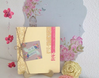 """Card double """"you are wonderful"""" yellow colored scrapbooking"""