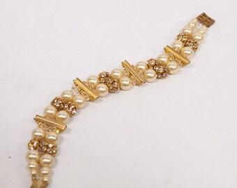 Vintage Pearl and Rhinestone Double Stranded Bracelet