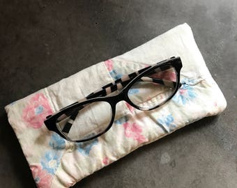 Quilted Eyeglass Case Made from Vintage Reclaimed Quilts-FREE SHIPPING