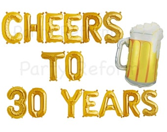 """CHEERS TO 30 YEARS Balloons Set of 15 Balloons Air Fill only / Large 34"""" Beer Mug Balloon Helium Quality / 30th Birthday 30th Anniversary"""