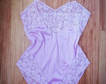 ROSEMARY - lilac satin teddy with lace detail, restored vintage lingerie