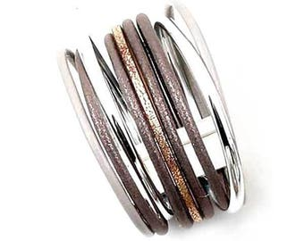 Shimmering Multi Brown Silver Leather Cuff Bracelet