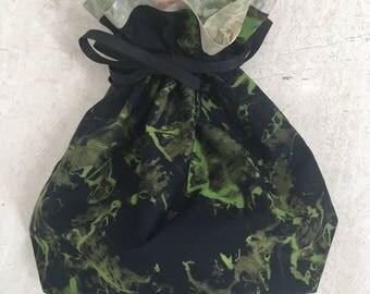 """12.75"""" x 12.5"""" Green Batik medium drawstring bag"""