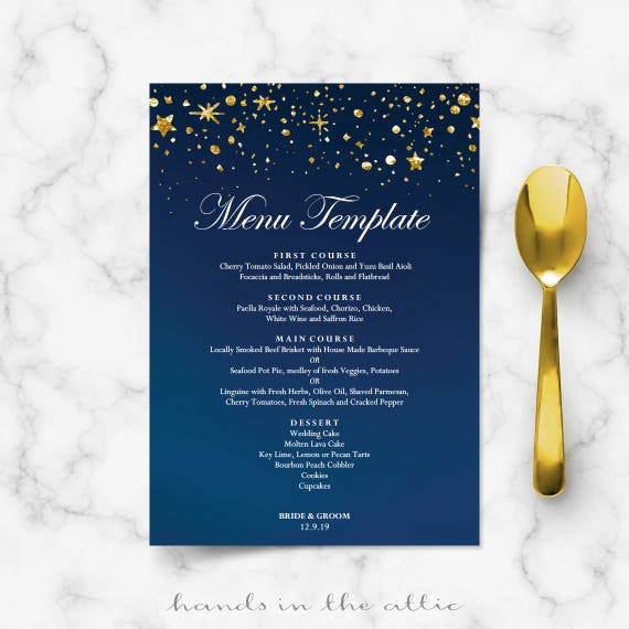 Starry night wedding menu cards DIY template, gold glitter stars ...