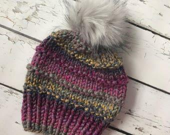Knit Hat, Chunky Knit Hat, Bulky Knit Hat, Faux Fur Pom Pom Hat, Winter Hat, Knit Hat With Pom Pom, Hand Knit Hat