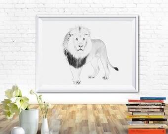 Lion print, art prints, printable, wall art prints, black and white prints, fine art prints, nursery art, printable art, wall printables