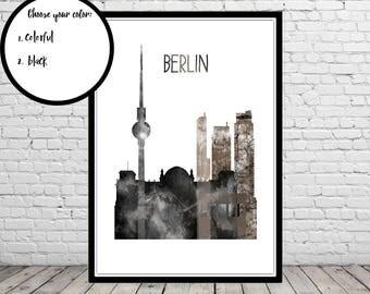 Berlin, Berlin skyline, Berlin Germany, watercolor Berlin, Germany, watercolor City Print, Office Art (3842b)
