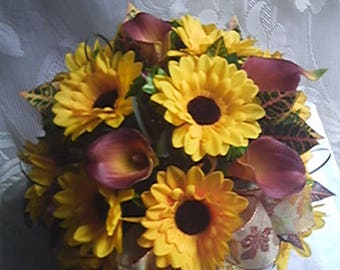 sunflowers..plum/flame real touch calla lillies round wedding bridal bouquet
